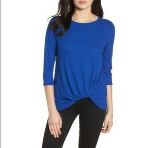 Gibson Cozy Twist Front Pullover in Blue XL